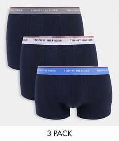 Набор из 3 темно-синих боксеров-брифов с фирменным поясом Tommy Hilfiger-Темно-синий