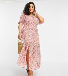 Красное платье макси с разрезом до бедра, пышными рукавами и цветочным принтом In The Style Plus x Jac Jossa-Многоцветный