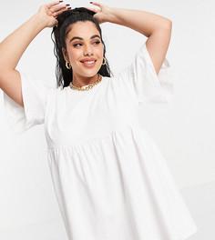 Эксклюзивное платье с присборенной юбкой и расклешенными рукавами белого цвета In The Style Plus x Olivia Bowen-Белый