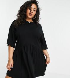 Черное платье мини в стиле oversized с присборенной юбкой и заниженной талией ASOS DESIGN Curve-Черный цвет