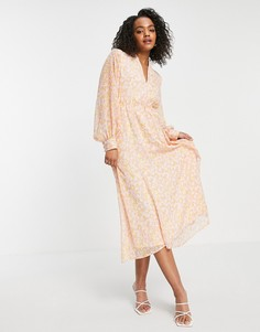 Розовое платье миди с принтом Selected Femme-Multi