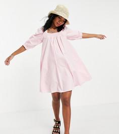 Розовое присборенное мини-платье с квадратным вырезом New Look-Розовый цвет