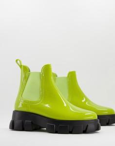 Непромокаемые ботинки-челси цвета лайма на массивной подошве ASOS DESIGN Giana-Зеленый цвет