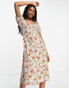 Присборенное спереди платье миди с цветочным принтом Influence-Multi