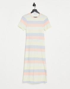 Платье-футболка миди в стиле oversized в полоску в пастельных тонах с вырезом на спине ASOS DESIGN-Multi
