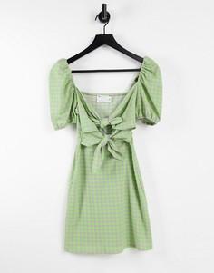 Платье мини в сиренево-лаймовую клетку с короткими рукавами, бантом и вырезом спереди ASOS DESIGN-Multi