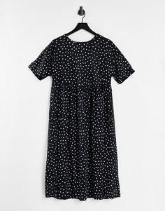 Платье миди с присборенной юбкой в стиле oversized в монохромный горошек ASOS DESIGN-Черный цвет