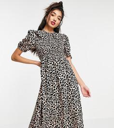 Присборенное платье миди с воротником и звериным принтом Wednesdays Girl-Светло-бежевый