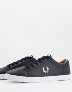 Черные кожаные кеды с логотипом Fred Perry-Черный цвет