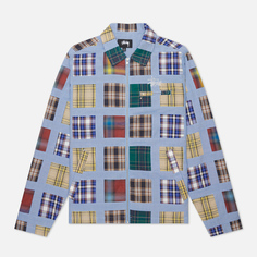 Мужская куртка Stussy Madras Patchwork Zip, цвет голубой, размер XL