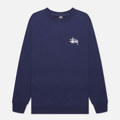Мужская толстовка Stussy Basic Stussy Print Crew, цвет синий, размер S