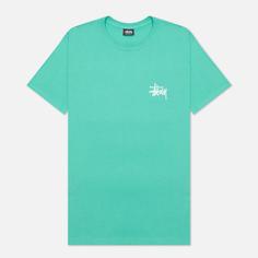 Мужская футболка Stussy SS Basic Stussy, цвет зелёный, размер XS