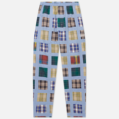 Мужские брюки Stussy Madras Patchwork Relaxed, цвет голубой, размер XL