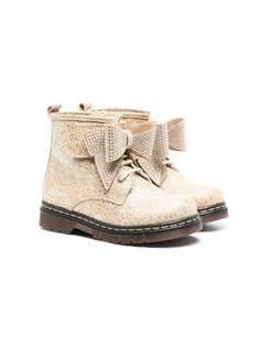 Monnalisa ботинки со стразами и бантами