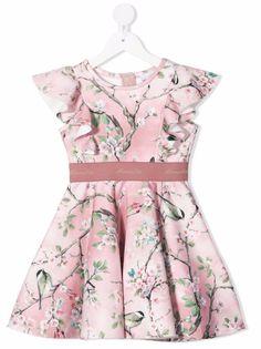 Monnalisa платье с оборками и принтом