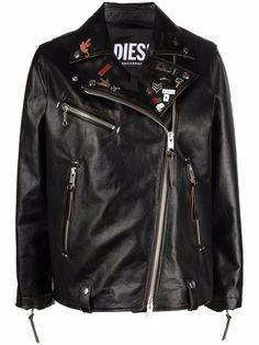 Diesel байкерская куртка с декором из значков