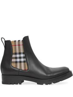Burberry ботинки челси с клетчатой вставкой