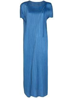 Pleats Please Issey Miyake платье-рубашка длины миди