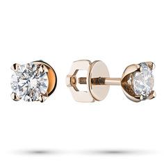 Пусеты из золота с бриллиантом э0201пс11102400 ЭПЛ Якутские Бриллианты