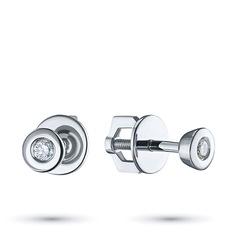 Пусеты из серебра с бриллиантом э0601пс12151100 ЭПЛ Якутские Бриллианты
