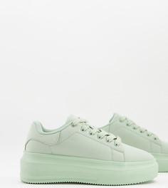 Зеленые кроссовки для широкой стопы на массивной подошве ASOS DESIGN Wide Fit Dorina-Зеленый цвет