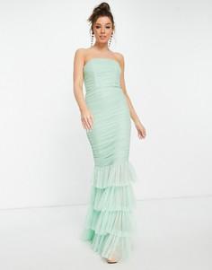 Мятное ярусное платье макси с юбкой-годе Forever U-Зеленый цвет