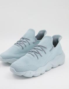 Голубые кроссовки для бега на массивной подошве с трикотажным верхом ASOS DESIGN-Голубой