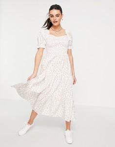 Платье макси с присборенной ярусной юбкой и винтажным цветочным принтом Neon Rose-Белый