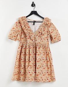 Чайное платье мини с цветочным принтом в стиле ретро Influence-Multi