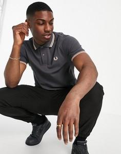 Темно-серая рубашка с контрастным воротником и двойной окантовкой Fred Perry-Серый