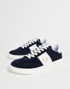 Темно-синие замшевые кроссовки с золотистым логотипом Fred Perry B400-Темно-синий