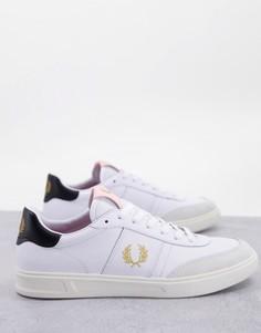Белые кроссовки из замши и кожи Fred Perry B400-Белый