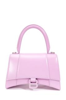 Сиреневая сумка из кожи Hourglass Small Balenciaga