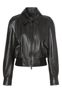 Черная укороченная куртка из кожи Burberry