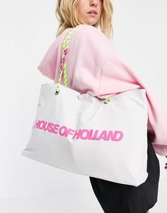 Белая сумка-шопер из ткани с логотипом и ремешками из шнурков и цепочки House of Holland-Белый
