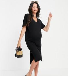 Черное платье-футболка миди с V-образным вырезом Pieces Maternity-Черный цвет