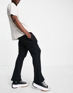 Черные расклешенные джоггеры скинни из вафельной ткани ASOS DESIGN-Черный цвет