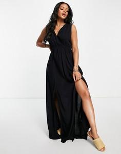 Черное пляжное платье макси из переработанных материалов со сборками ASOS DESIGN-Черный цвет