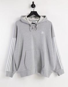 Худи серого цвета с тремя полосками adidas Originals Adicolor-Серый