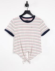 Разноцветная футболка с завязкой спереди Tommy Jeans-Многоцветный