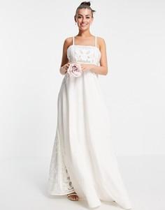 Свадебное платье на бретелях с вышивкой аппликации ASOS EDITION Layla-Белый