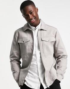 Серая рубашка навыпуск River Island-Серый