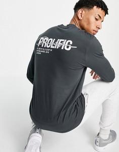 """Серая футболка с принтом """"Prolific"""" на спине River Island-Серый"""
