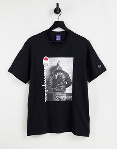 Черная футболка с графическим принтом и логотипом Champion-Черный цвет