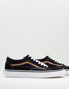 Черные кроссовки с отделкой цвета радуги Vans Old Skool-Черный цвет