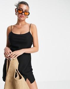 Черное платье-комбинация мини ASOS DESIGN-Черный цвет