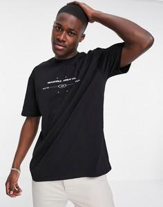Черная oversized-футболка с принтом Topman-Черный