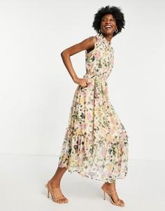 Платье мидакси с цветочным принтом, высоким воротом и развевающимися рукавами Hope & Ivy-Многоцветный