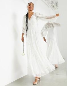 Свадебное платье макси из ткани добби с вышивкой ASOS EDITION Natalia-Белый