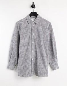 """Серая удлиненная рубашка в стиле """"oversized"""" Selected Femme-Белый"""